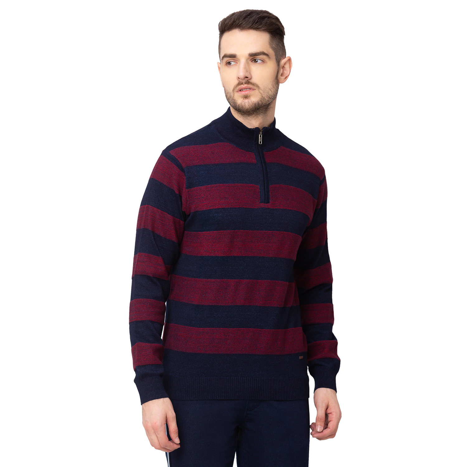 globus   Globus Navy Blue Striped Front-Open Sweater