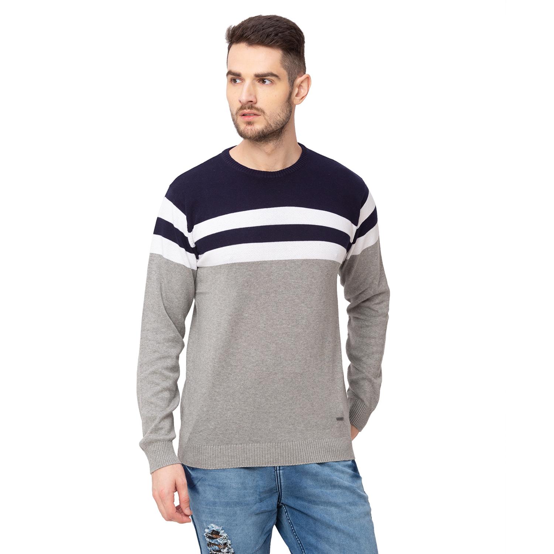 globus   Globus Navy Blue Colourblocked Pullover Sweater