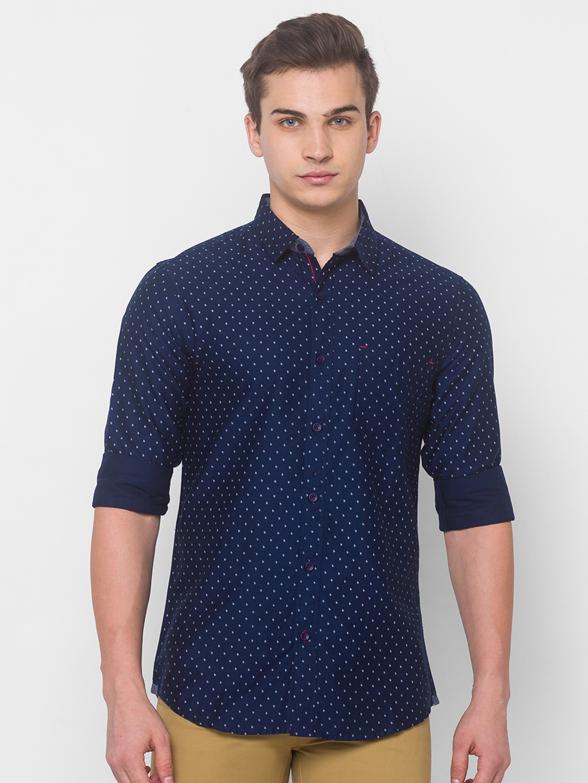 globus   Globus Navy Blue Printed Shirts