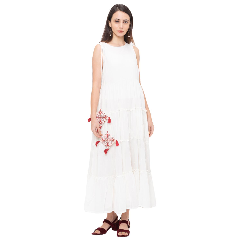 globus | Globus Off White Solid Dress