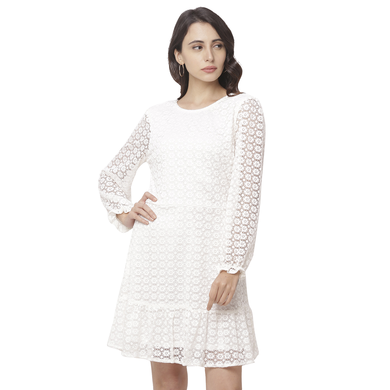 globus | Globus White Round Neck Self Design Dress