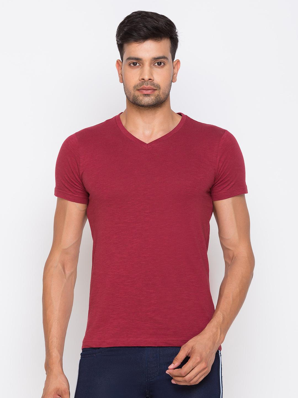 globus | Globus Maroon Solid Tshirts