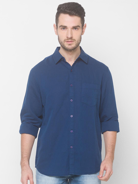 globus   Globus Blue Solid Shirts