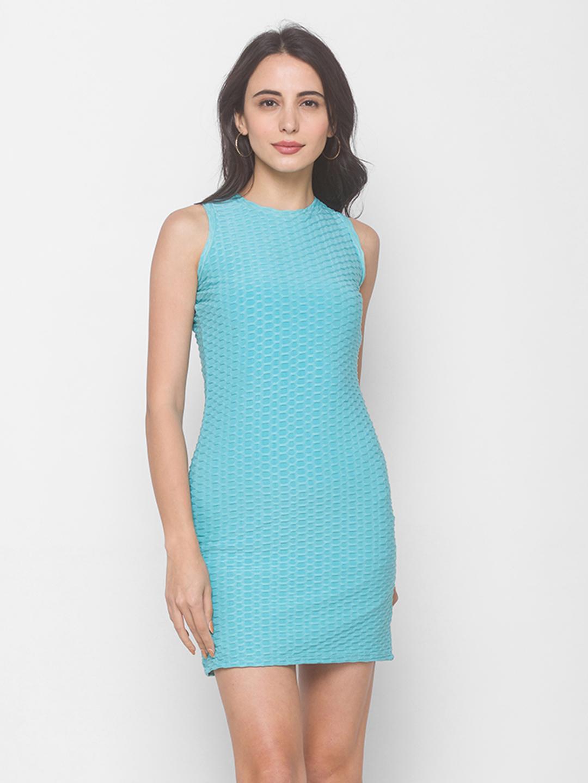 globus   Globus Self Design Aqua Dress
