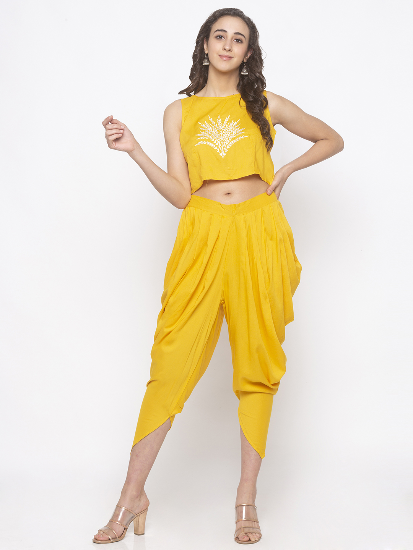 globus | Globus Mustard Solid Dhoti Pants