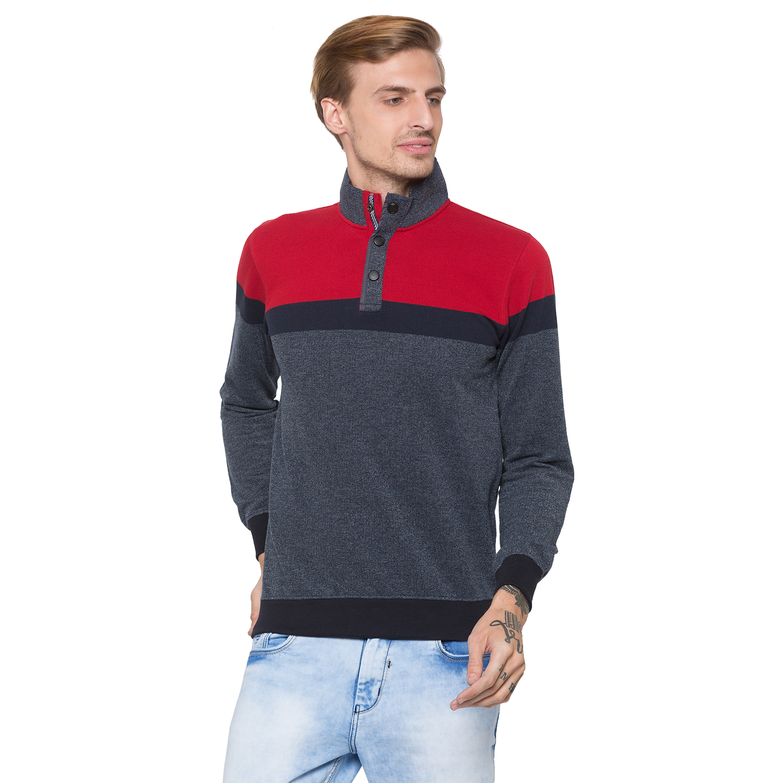 globus | Globus Grey & Red Colourblocked Sweatshirt