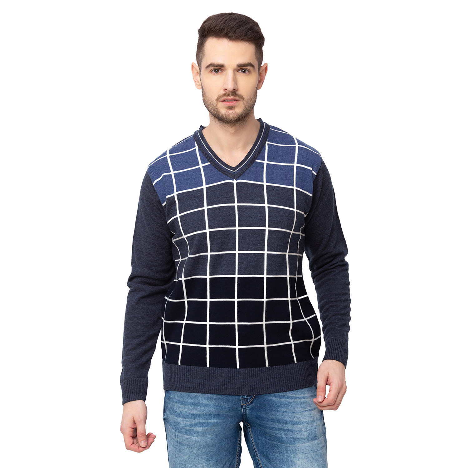 globus | Globus Navy Blue Checked Pullover Sweater