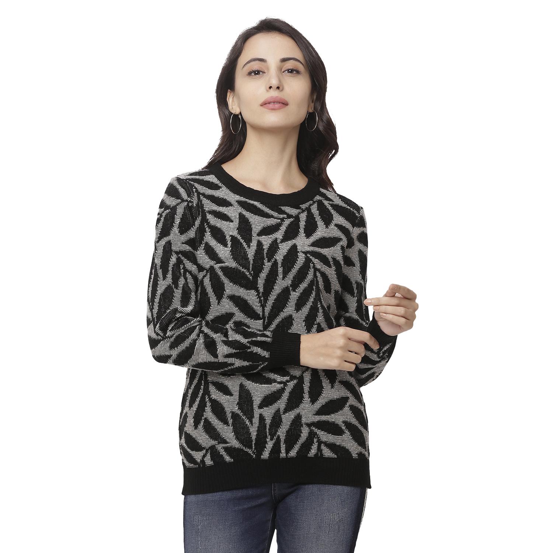 globus | Globus Black Round Neck Printed Sweatshirt