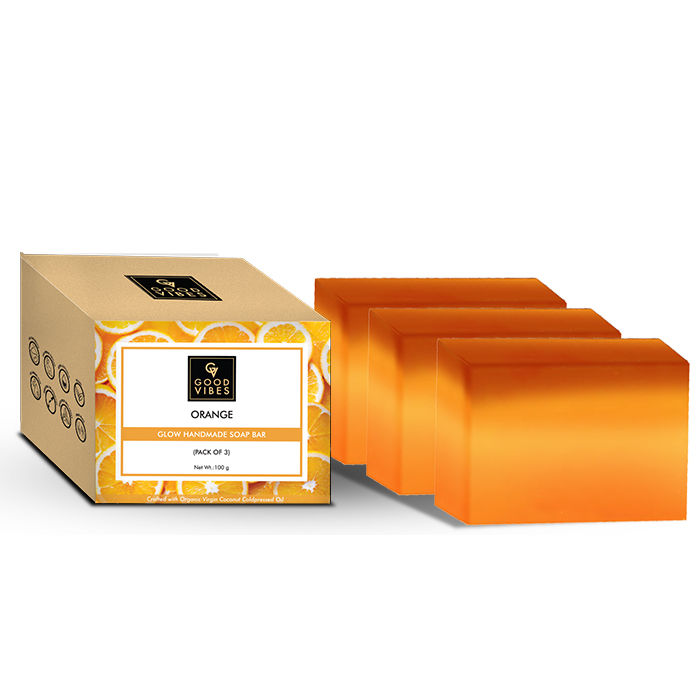 Good Vibes | Good Vibes Orange Glow Handmade Soap Bar (Pack of 3) - 100g x 3