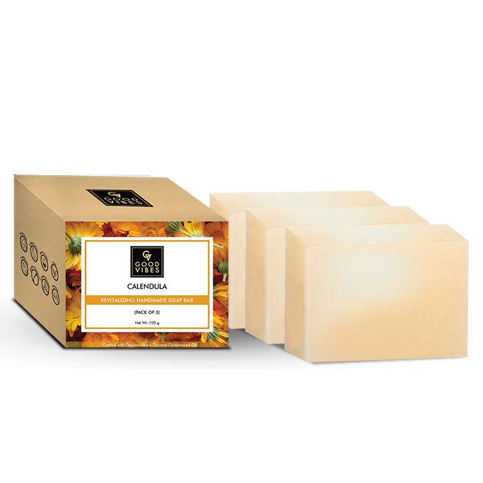 Good Vibes | Good Vibes Calendula Revitalizing Handmade Soap Bar (Pack of 3) - 100g x 3