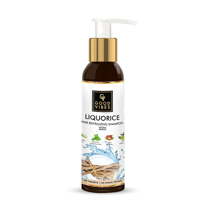 Good Vibes | Good Vibes Liquorice Hair Revitalizing Shampoo with Cucumber for Cooling Green Tea for Purifying Argan for Hydrating & Olive for Adding shine (200 ml)