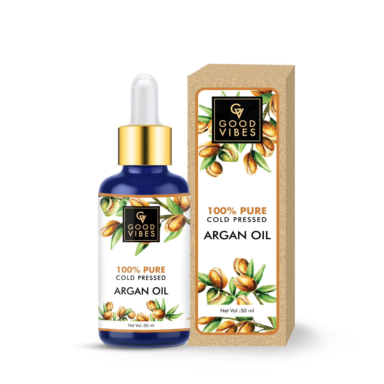 Good Vibes | Good Vibes 100% Pure Cold Pressed Carrier Oil For Hair & Skin - Argan (50 ml)