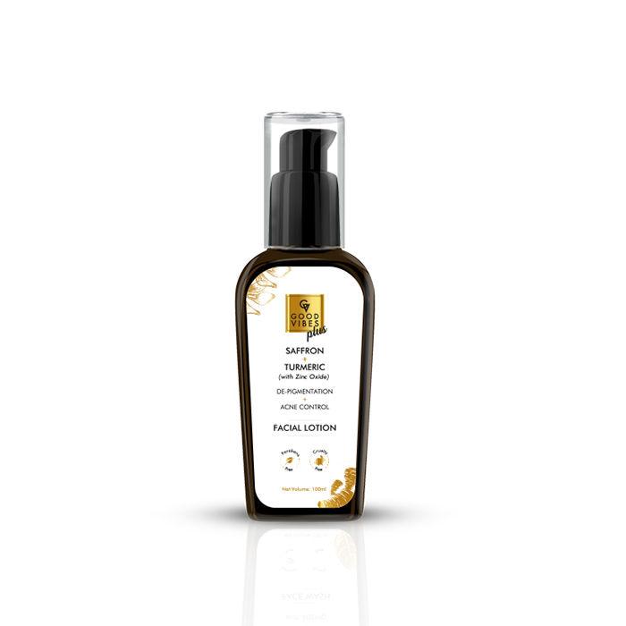 Good Vibes | Good Vibes Plus De-Pigmentation + Acne Control Facial Lotion - Saffron + Turmeric with Zinc Oxide (100 ml)