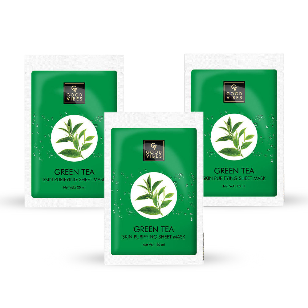 Good Vibes | Good Vibes Skin Purifying Sheet Mask - Green Tea (20 ml) - (Pack of 3)
