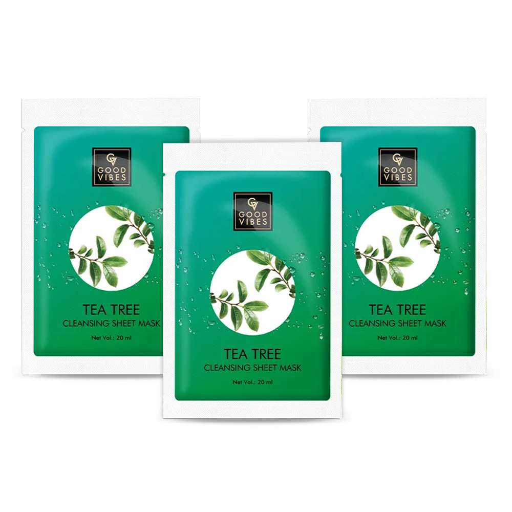 Good Vibes | Good Vibes Cleansing Sheet Mask - Tea Tree (20 ml) - (Pack of 3)