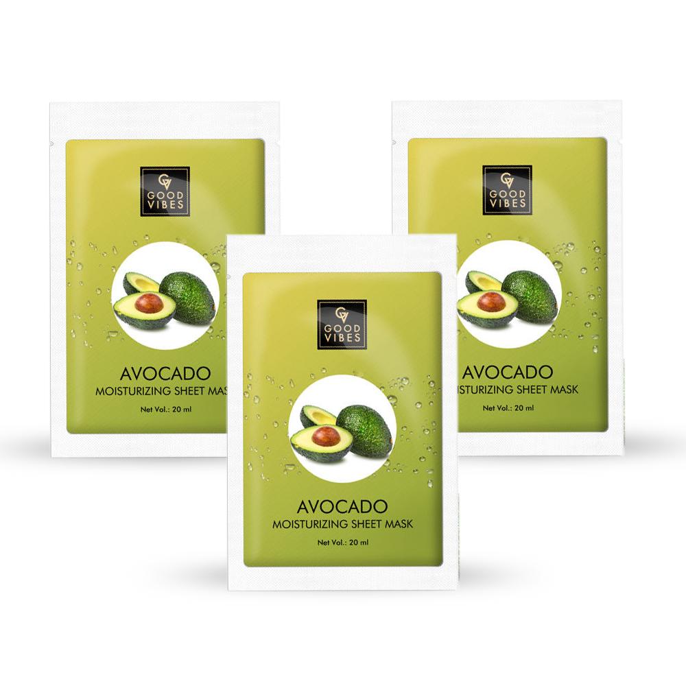 Good Vibes | Good Vibes Moisturizing Sheet Mask - Avocado (20 ml) - (Pack of 3)