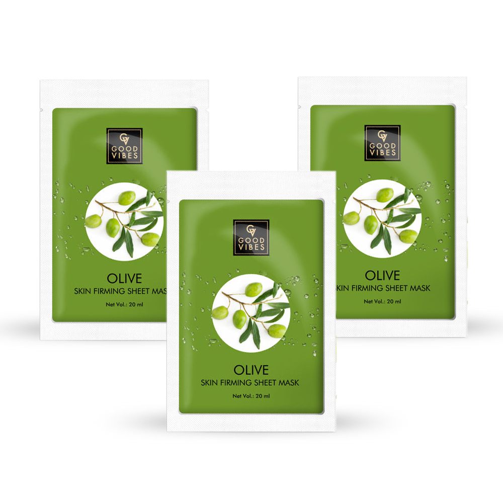 Good Vibes | Good Vibes Skin Firming Sheet Mask - Olive (20 ml) - (Pack of 3)
