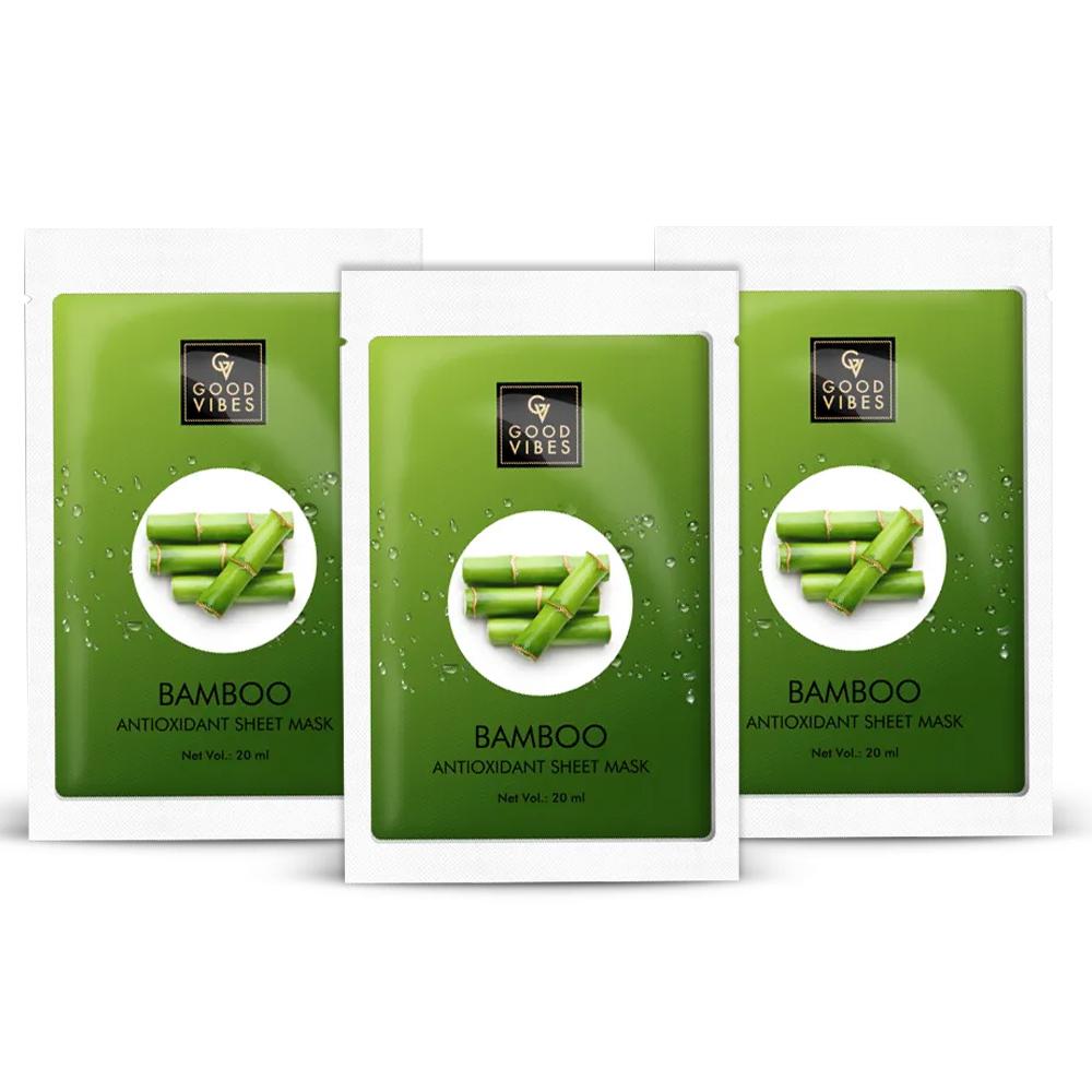 Good Vibes | Good Vibes Antioxidant Sheet Mask - Bamboo (20 ml) - (Pack of 3)