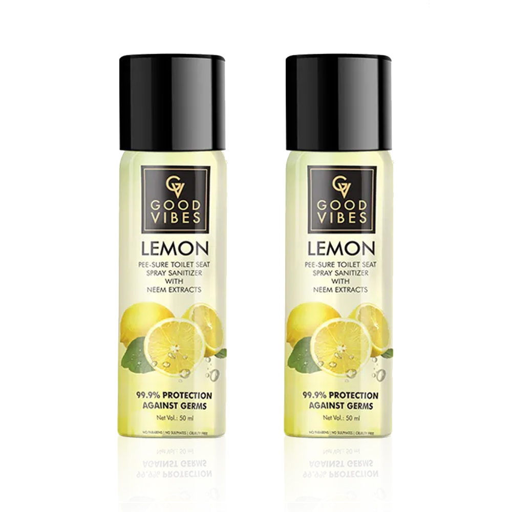 Good Vibes | Good Vibes Lemon Pee-Sure Toilet Seat Spray with Neem Extracts (50 ml) - (Pack of 2)