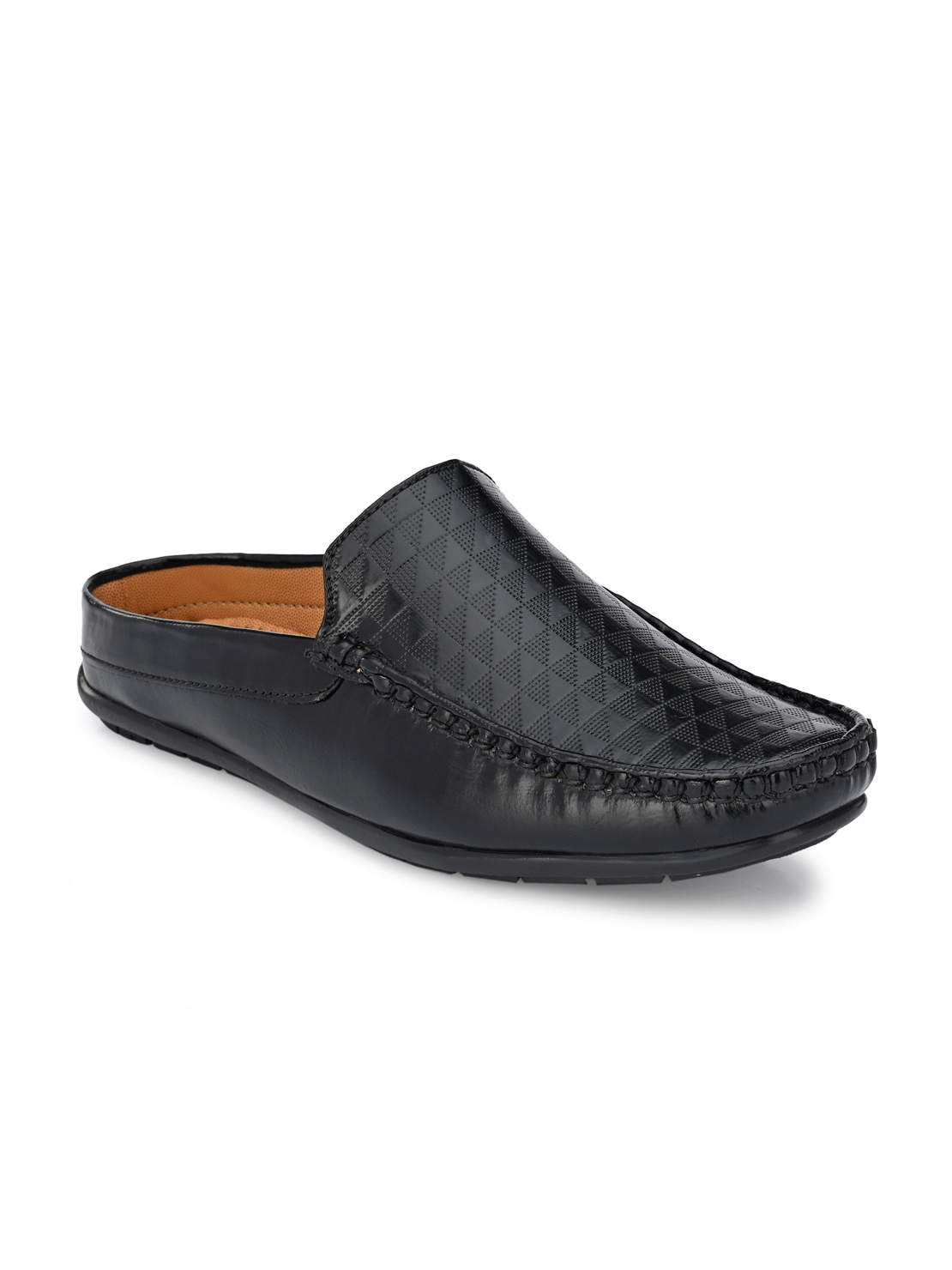 Guava | Guava Men Casual Open Back textured Loafers Mules Shoe - Black