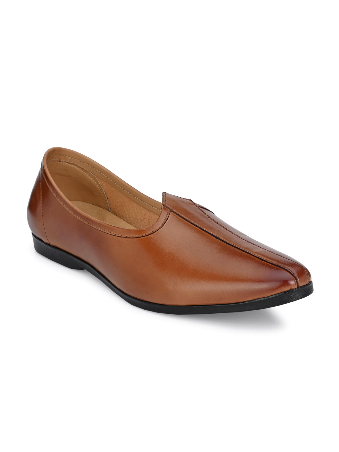 Guava | Guava Men's Genuine Leather Jalsa Ethnic Mojris Shoes - Tan