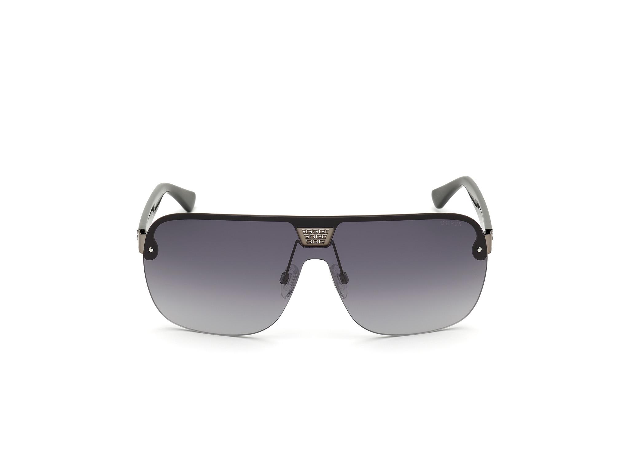 GUESS | Guess Black Frame With Grey Lens Shield Shape Men Sunglass