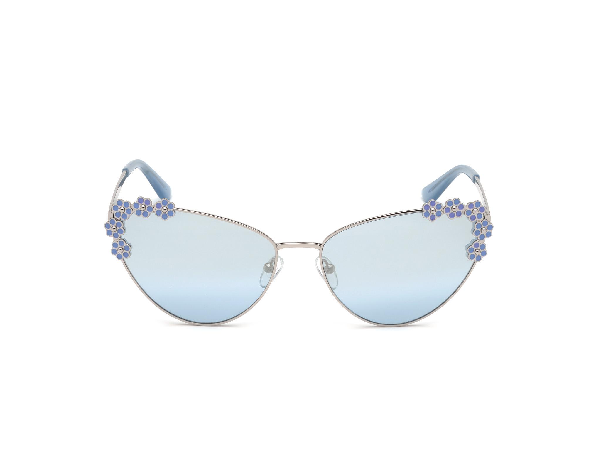 GUESS | Guess Silver Frame With Blue Lens Cat Eye Shape Women Sunglass