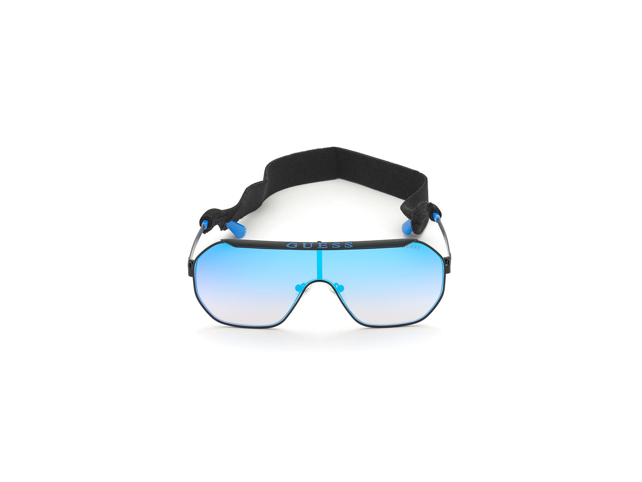 GUESS | Guess Black Frame With Blue Lens Shield Shape Women Sunglass
