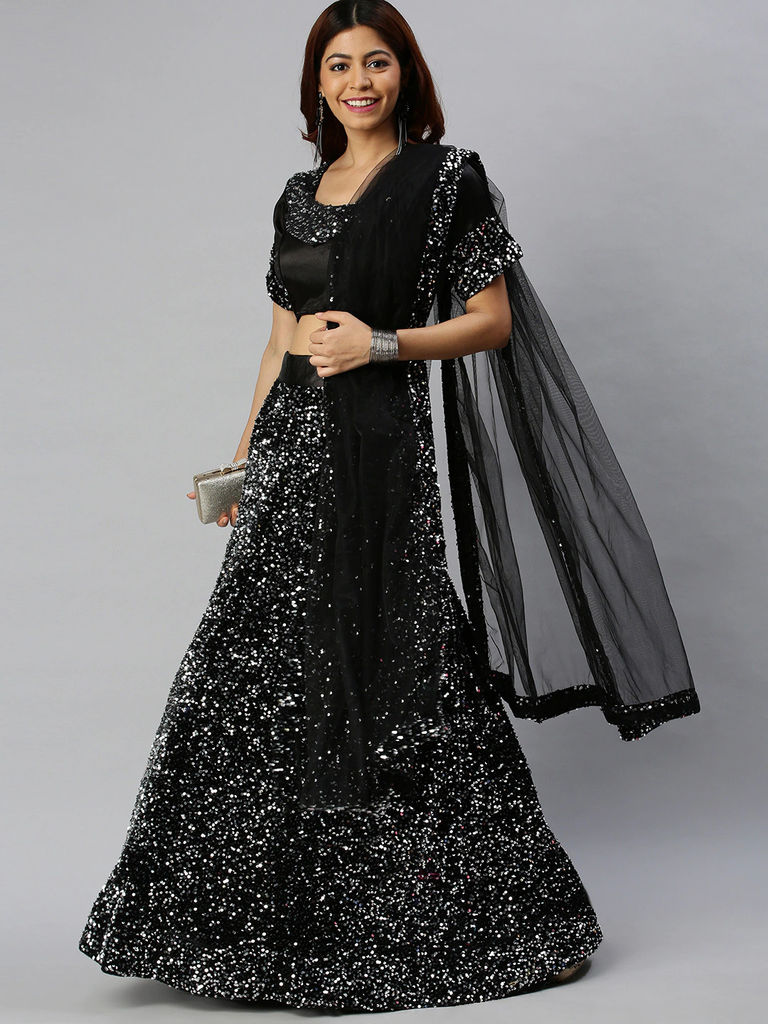 JINAL & JINAL | Black & Silver-Toned Solid Semi-Stitched Lehenga & Unstitched Blouse with Dupatta