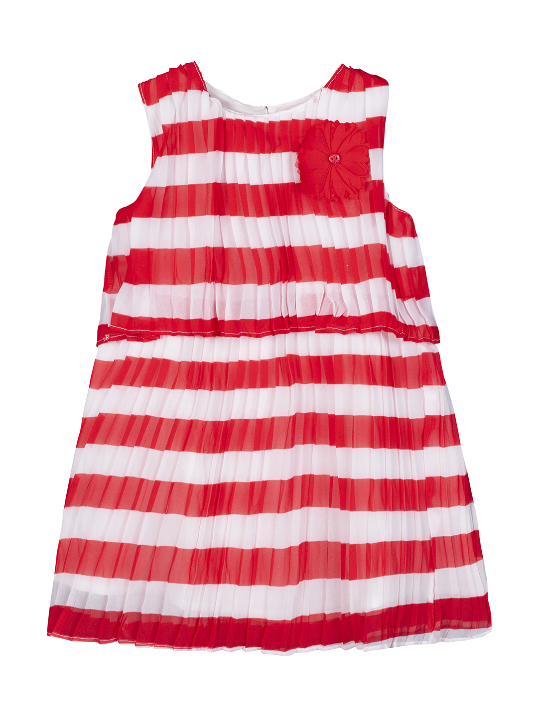 Budding Bees   Budding Bee Girls Striped Pleated A-Line Dress-Red & White