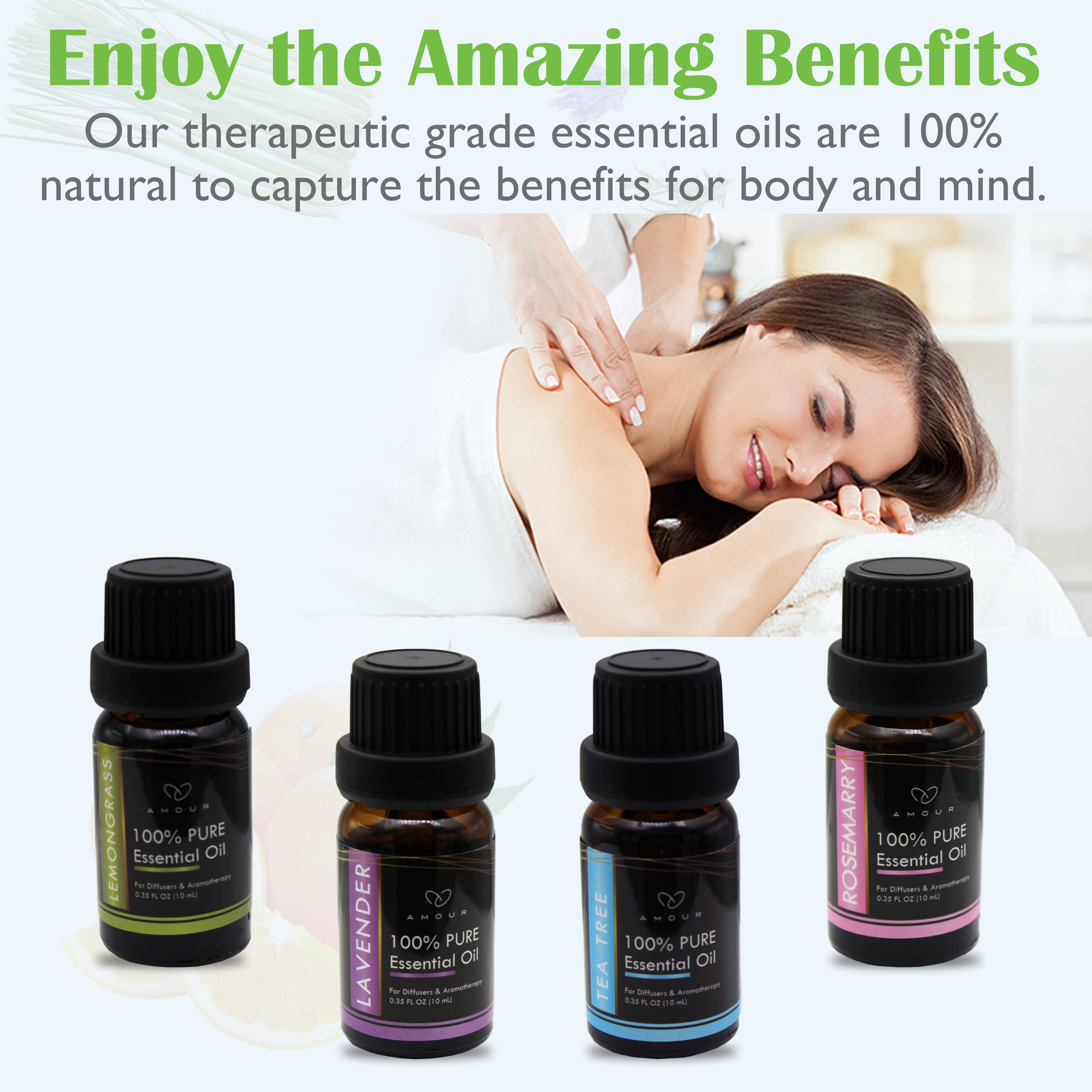 Amour | Amour 4 Piece Essential Oil Set, Top Essential Oils For Aromatherapy Diffuser With Gift Packing