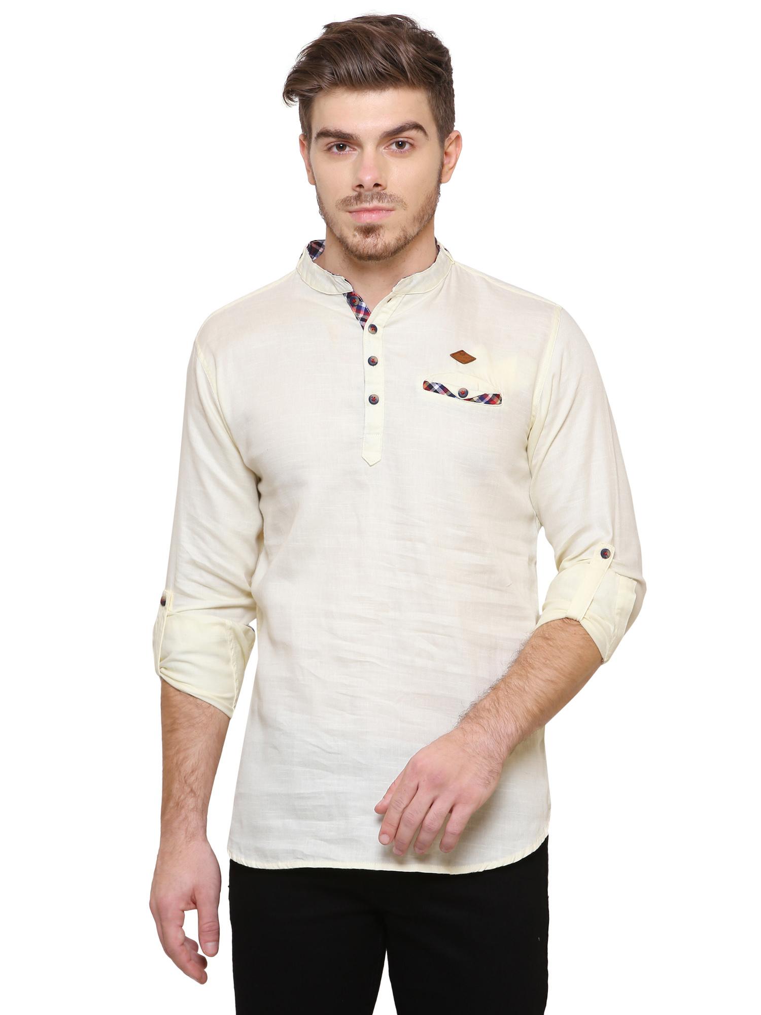Kuons Avenue | Kuons Avenue Men's Cream Yellow Casual Cotton Kurta- KACLFS1260YL