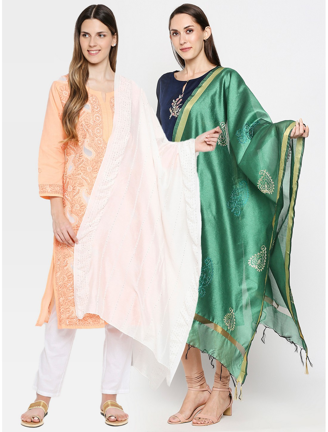 Get Wrapped | Get Wrapped Dyeable Dupatta & a Gold Border Dupatta for Women - Combo Pack of 2