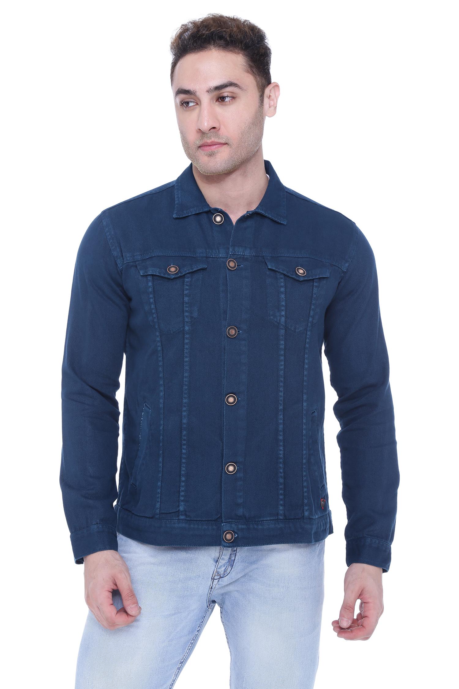 Kuons Avenue | Kuons Avenue Men's Teal Blue Denim Jacket- KACLFS1365TB