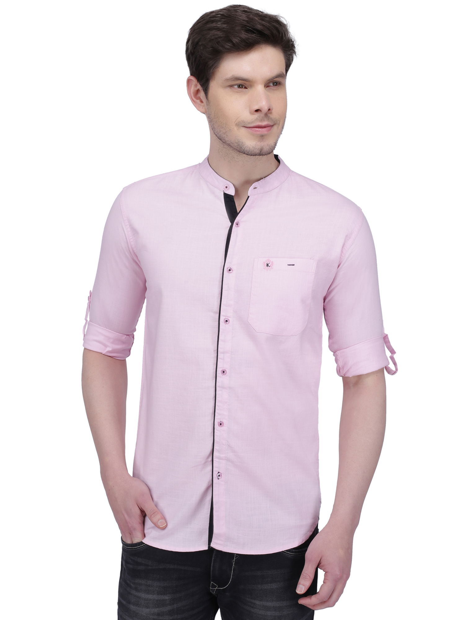 Kuons Avenue   Kuons Avenue Men's Pastel Pink Linen Cotton Casual Shirt- KACLFS1297PK
