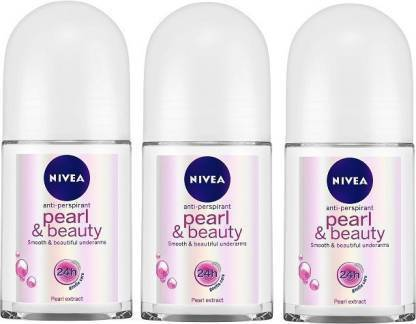 Nivea   NIVEA Pearl and Beauty Deodorant Roll-on - For Women  (Pack of 3)