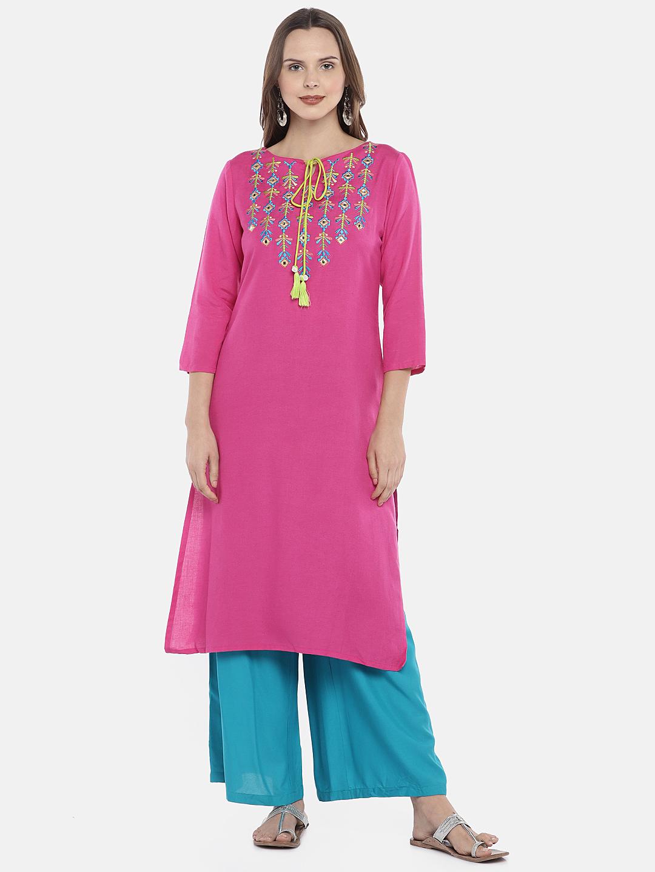 Ethnicity | Ethnicity Pink Rayon Flax Women Kurta