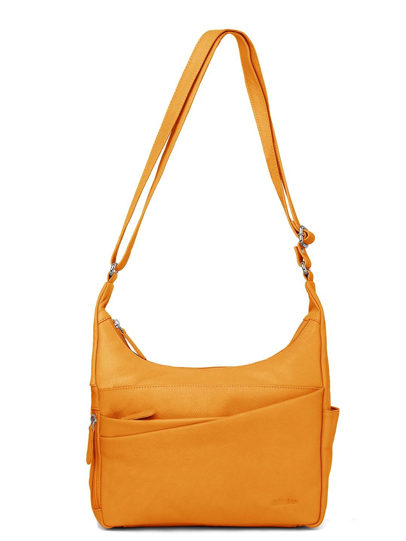 WildHorn | WildHorn Upper Grain Genuine Leather Ladies Sling, Crossbody, Shoulder Bag with Adjustable Strap - Yellow