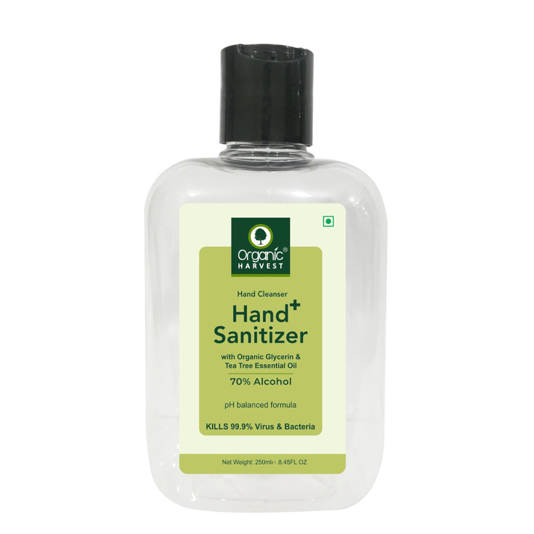 Organic Harvest | Organic Harvest Instant Anti - Bacterial Gel Hand Sanitizer & Hand Cleanser with Organic Glycerin & Tea Tree Essential Oil, 70% Alcohol, Kills 99.9% Virus & Bacteria, 250ml