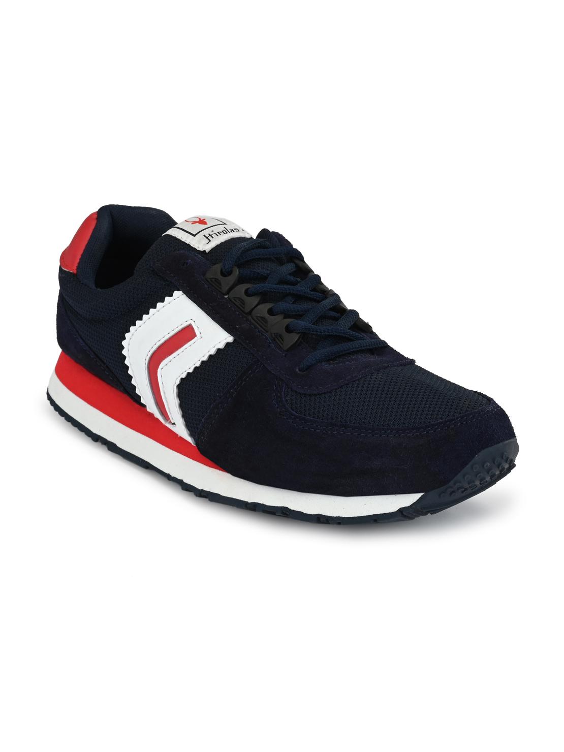 Hirolas | Hirolas Men's Multisport Leather Sneaker Shoes- Blue/Red