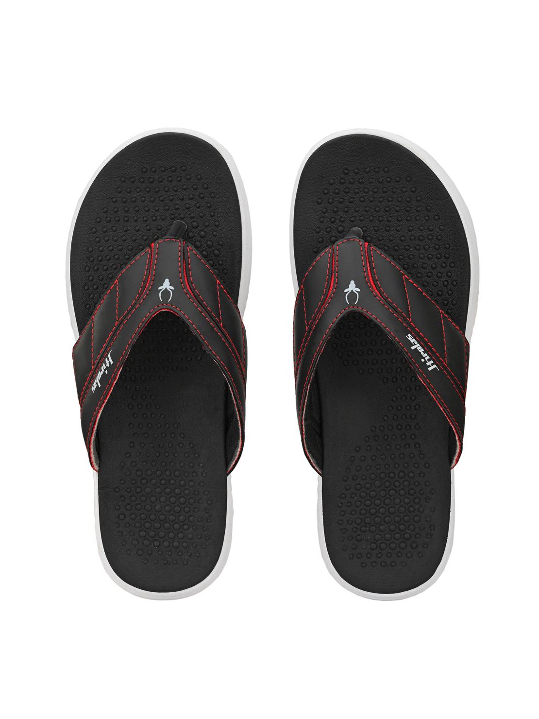 Hirolas | Hirolas® CLOUDWALK | Comfortable | Ultra-Soft | Light-Weight | Shock Absorbent | Bounce Back Technology | Water-Resistant | Flip Flops | Slippers for Men - Black/Red