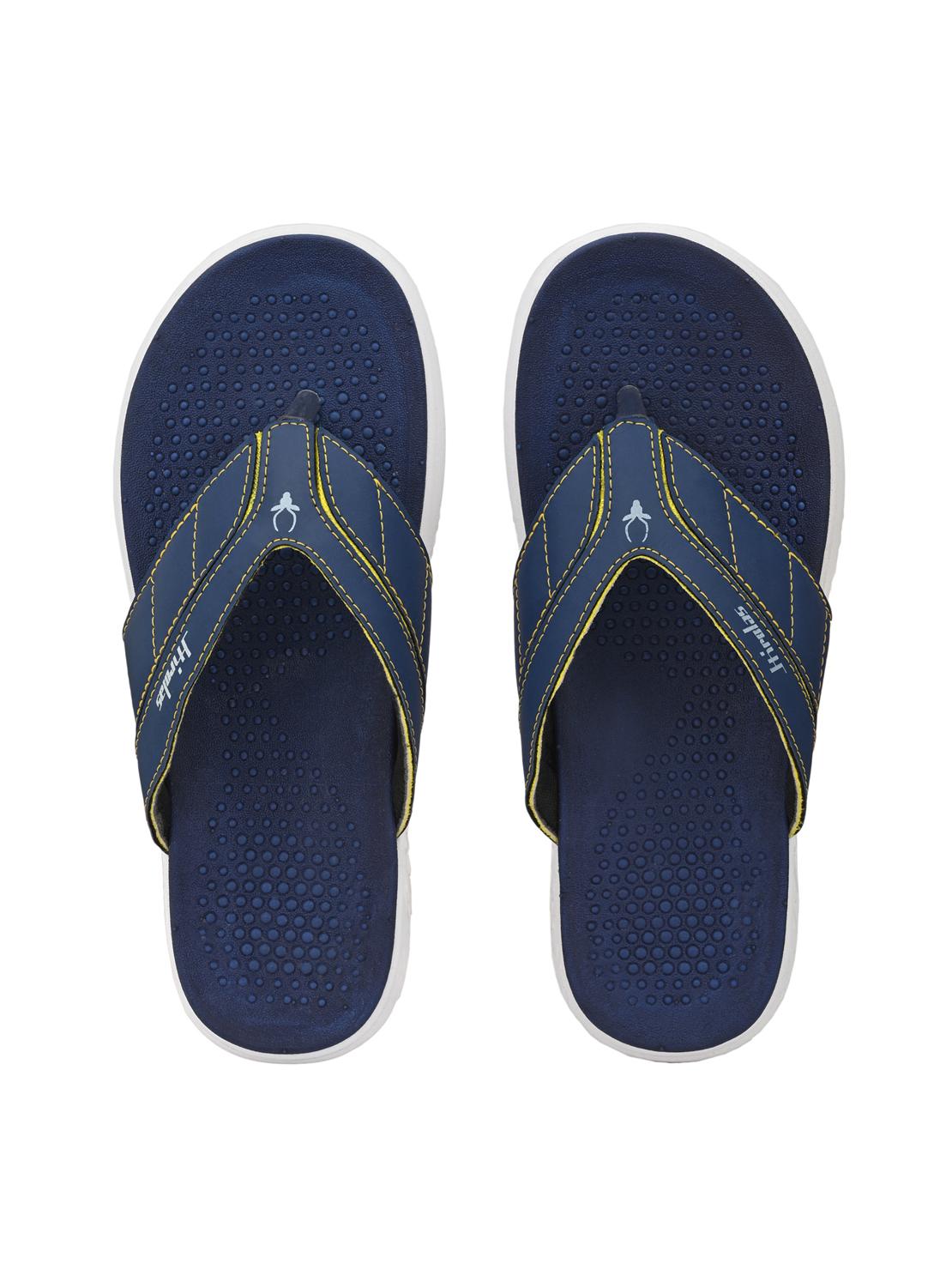 Hirolas | Hirolas® CLOUDWALK | Comfortable | Ultra-Soft | Light-Weight | Shock Absorbent | Bounce Back Technology | Water-Resistant | Flip Flops | Slippers for Men - Blue/Yellow