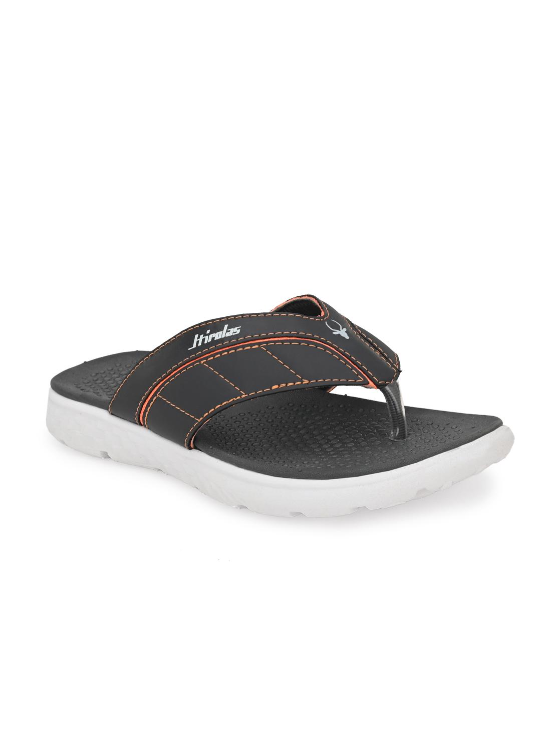 Hirolas | Hirolas® CLOUDWALK | Comfortable | Ultra-Soft | Light-Weight | Shock Absorbent | Bounce Back Technology | Water-Resistant | Flip Flops | Slippers for Men - Grey/Orange