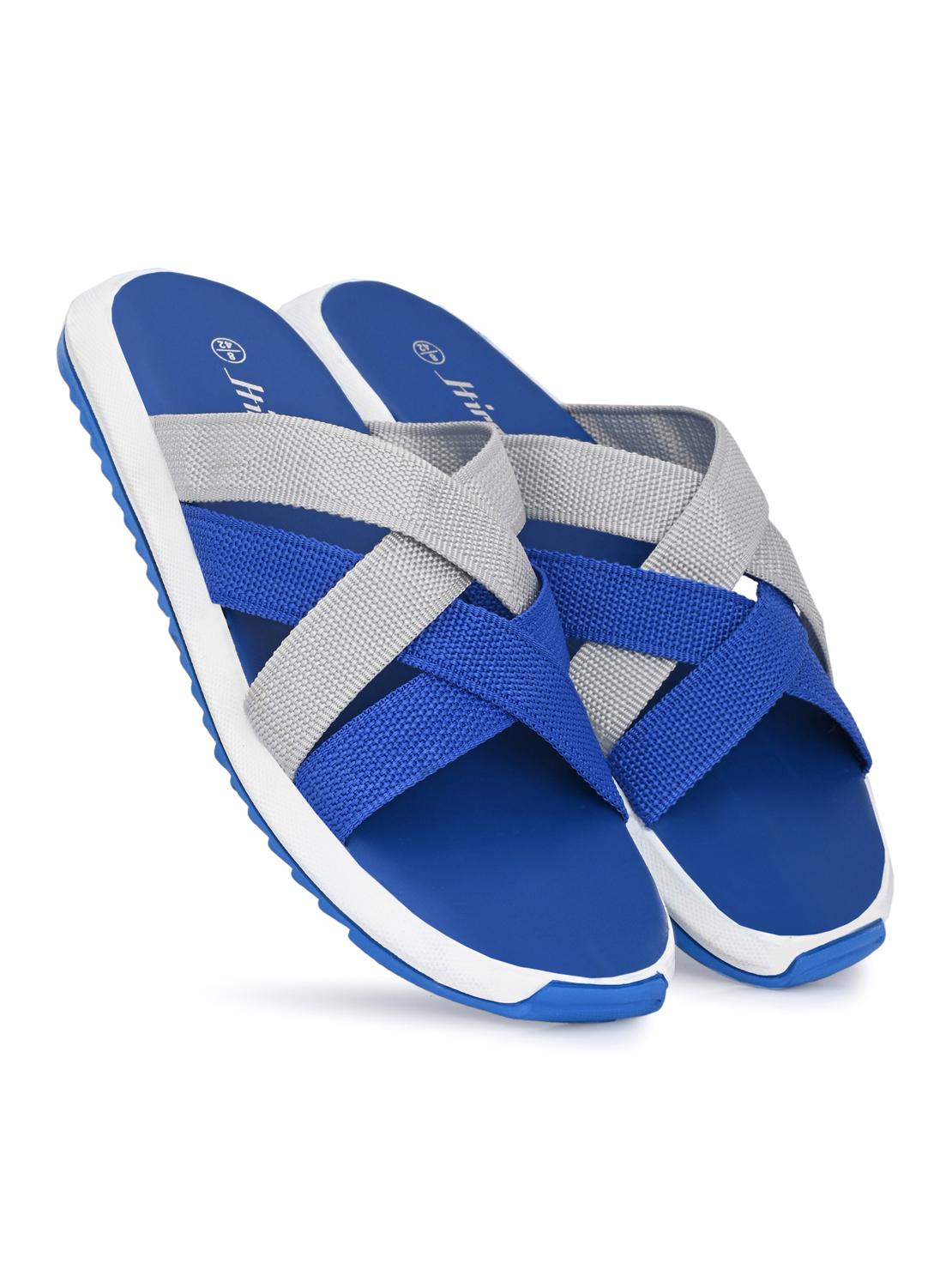 Hirolas | Hirolas® Men's Blue Strappy Flip-Flop Slider Slippers (UK6/EU40)