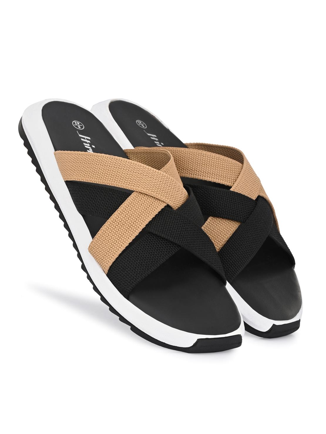 Hirolas | Hirolas® Men's Black Multi Strap Flip-Flop Slider Slippers (UK6/EU40)