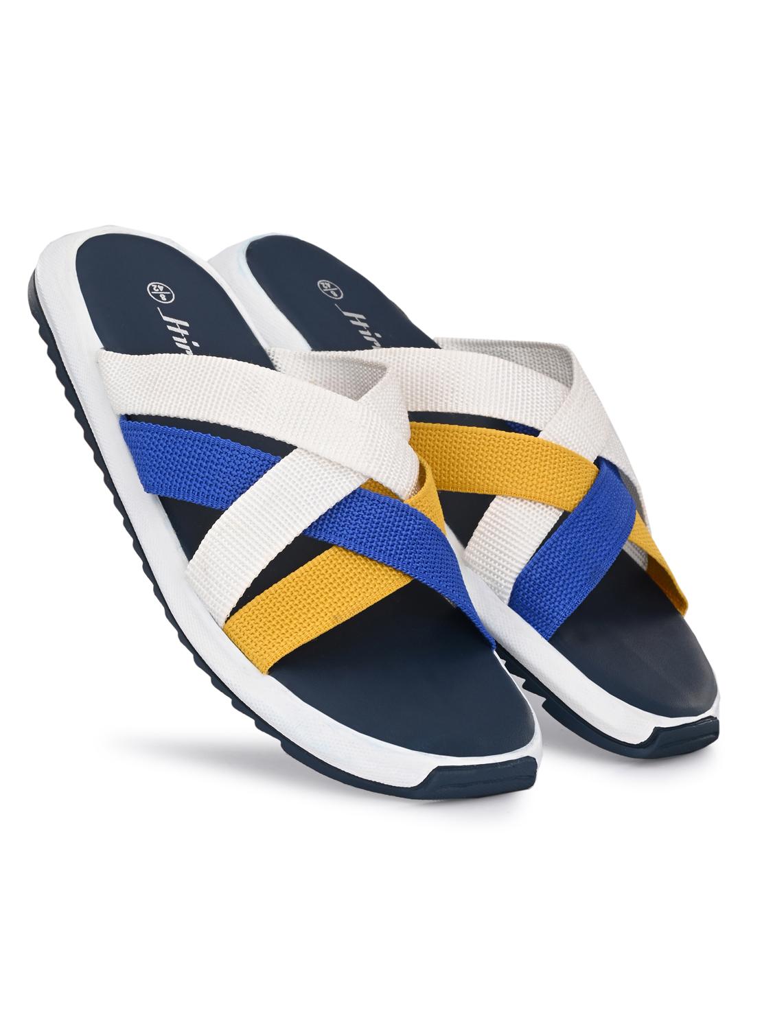 Hirolas | Hirolas® Men's Blue Multi Strap Flip-Flop Slider Slippers (UK6/EU40)