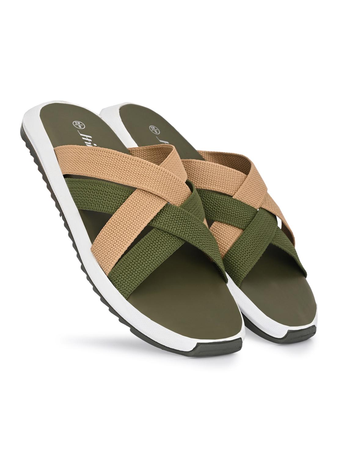 Hirolas | Hirolas® Men's Olive Strappy Flip-Flop Slider Slippers (UK6/EU40)