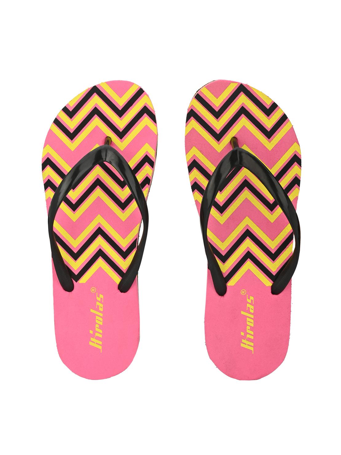 Hirolas | Hirolas® printed Flip Flop  Slippers for Women - Pink/Yellow