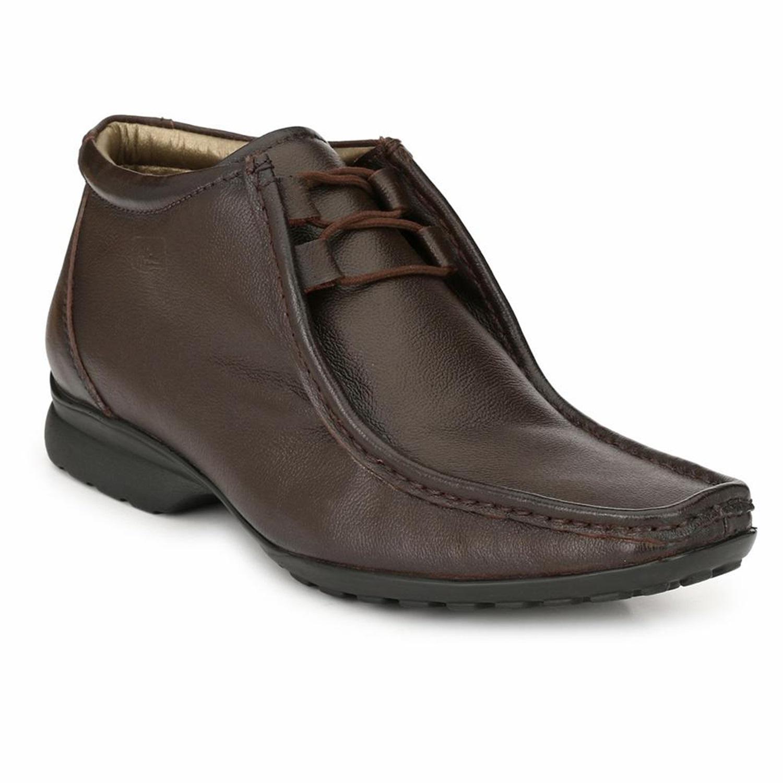 Hitz | Hitz Brown Genuine Leather Derby Formal Boots For Men