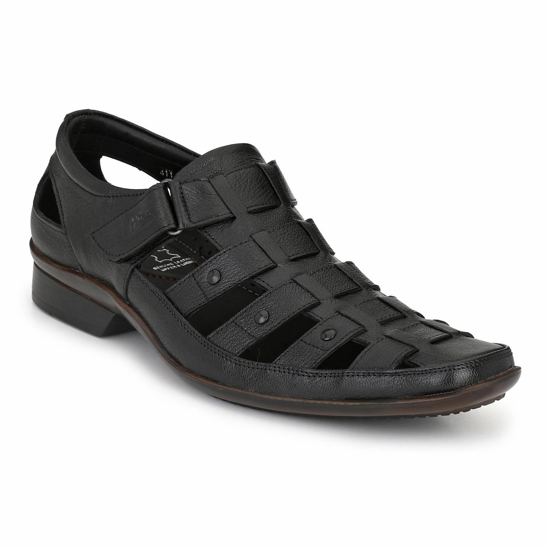 Hitz | Hitz Black Genuine Leather Sandal For Men with Velcro Fastening